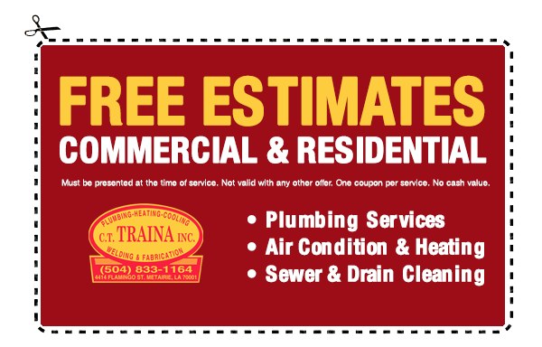CT Traina | Plumbing, Plumber, Air Conditioner Repair, Welding & Fabrication, Sewer and Drain Cleaning | Metairie New Orleans Kenner Plumbers